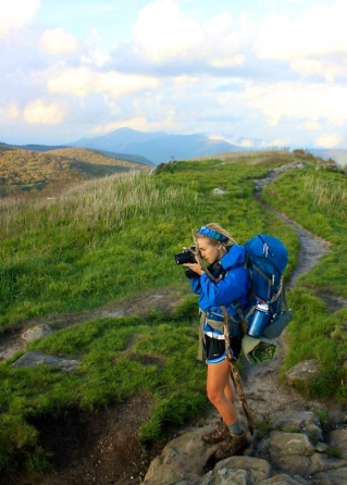 Alli Langley taking photos during a week of backpacking in Pisgah National Forest.