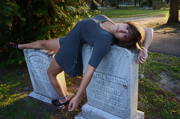 My roommate, Carley, poses for a photo at a graveyard in Gainesville, Fla.