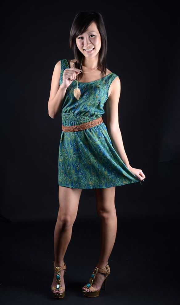 A model poses wearing an outfit I picked out for our studio fashion assignment.