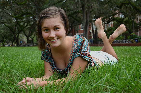 My friend Nina posing for a portrait on campus at the University of Florida.